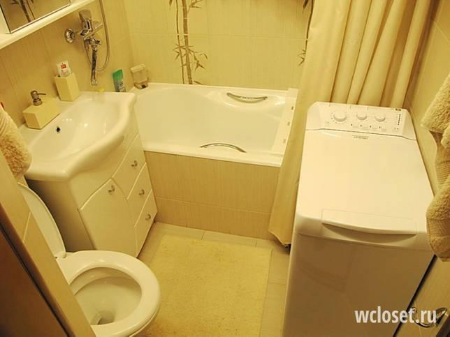 Совмещенный туалет с подвесным унитазом и со стиральной машиной