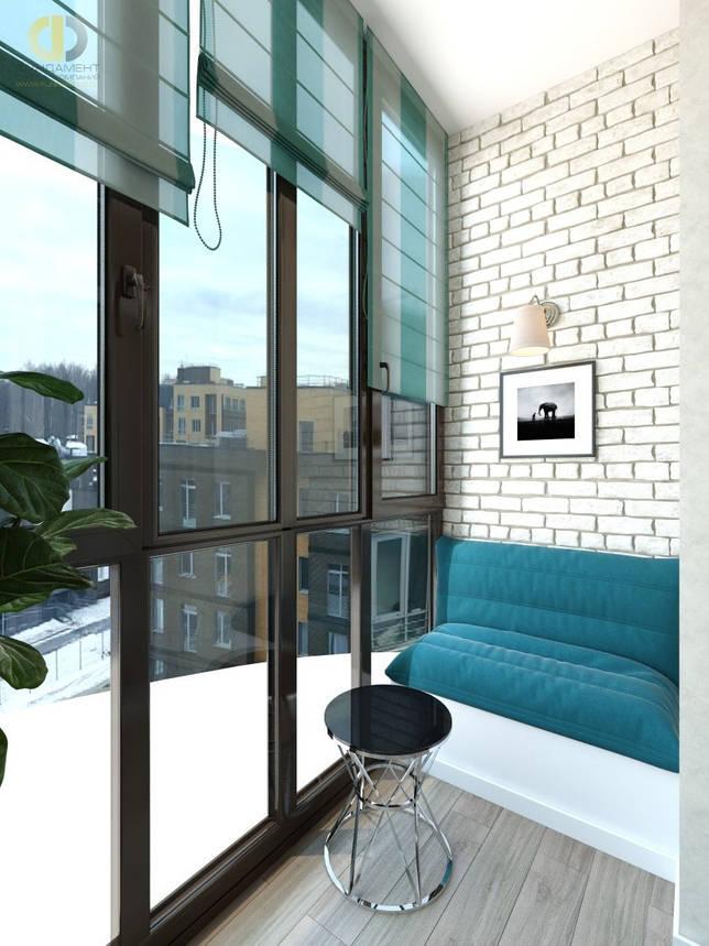 Интерьер балкона с бирюзовыми шторами в Химках
