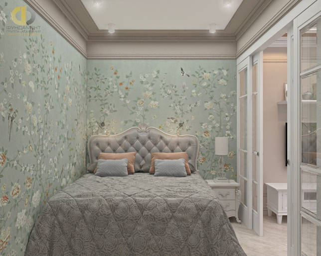 Интерьер спальни с дизайнерскими обоями в ЖК «07»