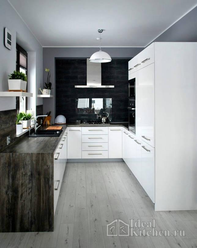 кухня в квартире-студии с серыми стенами