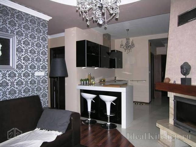 фото небольшой кухни-гостиной с камином и черным кожаным диваном