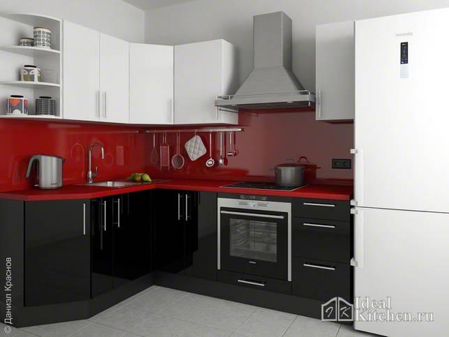 черно-бело-красный дизайн маленькой кухни