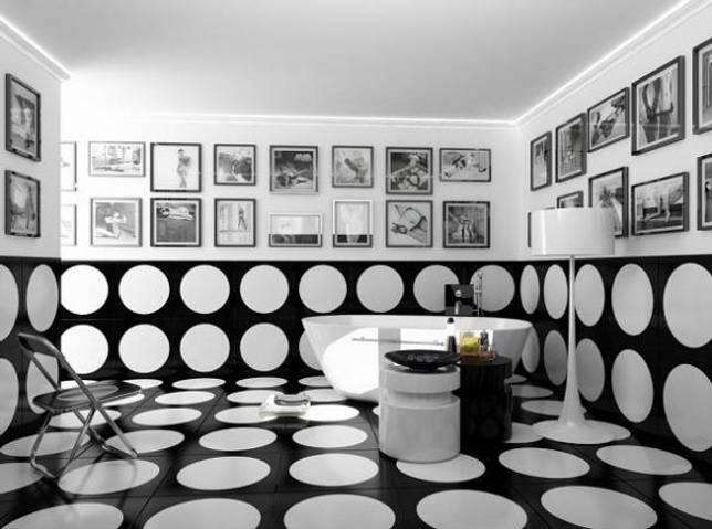 Плитка для ванной черно-белая