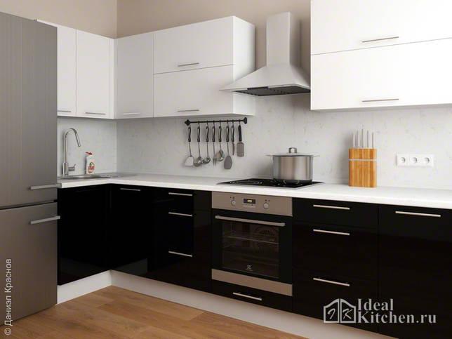стильный дизайн черно-белой кухни 11 кв. м в современном стиле