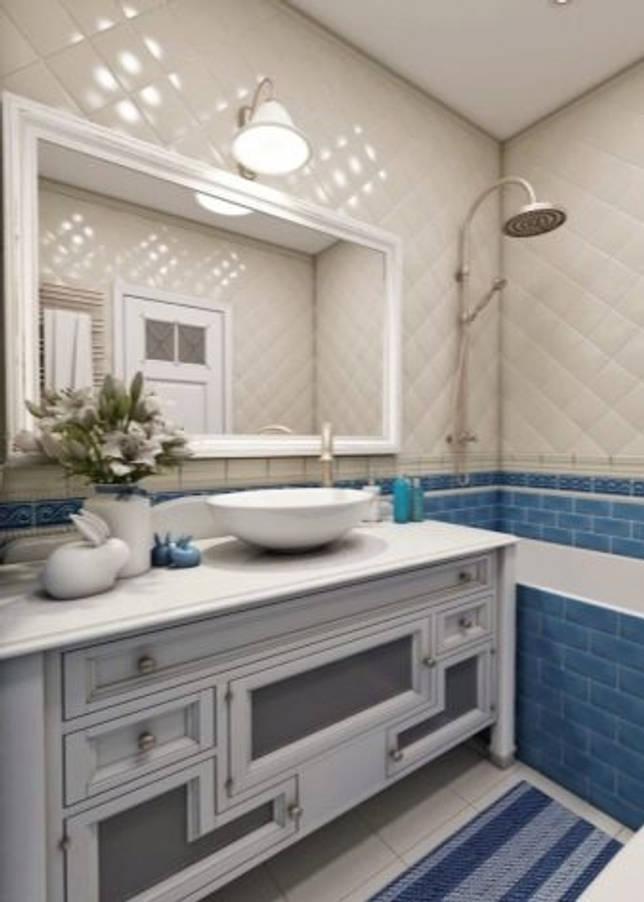 Голубая плитка в дизайне интерьера ванной комнаты