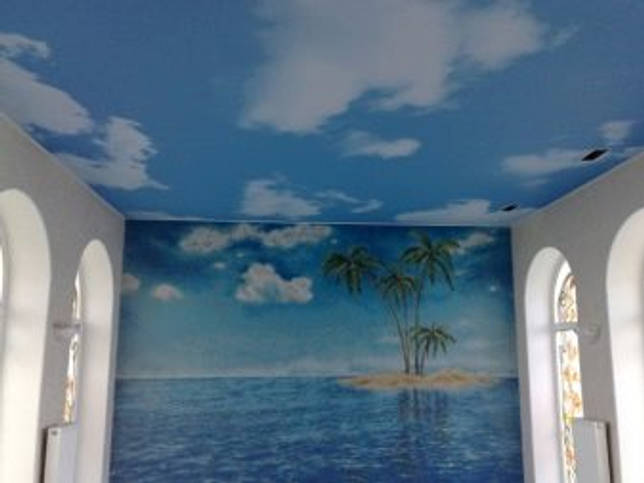 Натяжной потолок «небо»: красивые идеи в интерьере