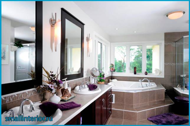 Угловая ванная в интерьере